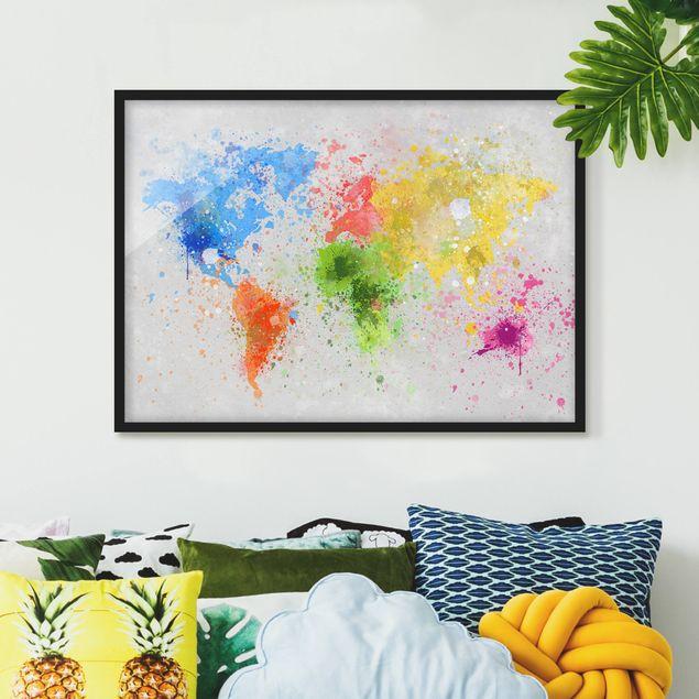 Bild mit Rahmen - Bunte Farbspritzer Weltkarte - Querformat 3:4