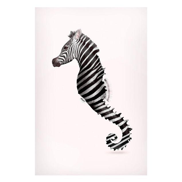 Magnettafel - Jonas Loose - Seepferdchen mit Zebrastreifen - Memoboard Hochformat 3:2