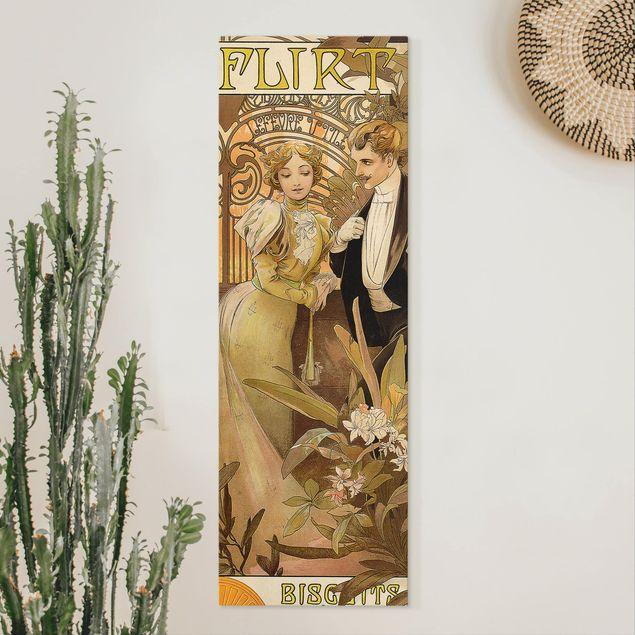 Leinwandbild - Alfons Mucha - Werbeplakat für Flirt Biscuits - Panorama Hochformat 3:1