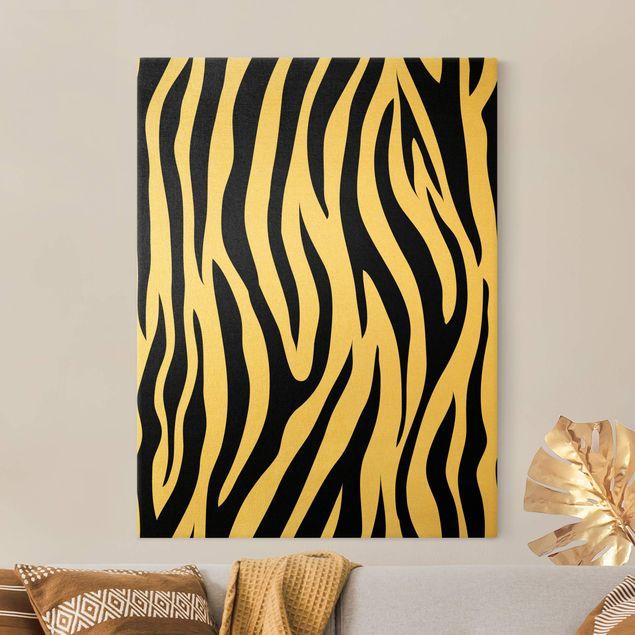 Leinwandbild Gold - Zebra Print - Hochformat 3:4