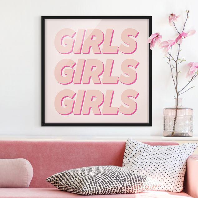 Bild mit Rahmen - GIRLS GIRLS GIRLS - Quadrat 1:1