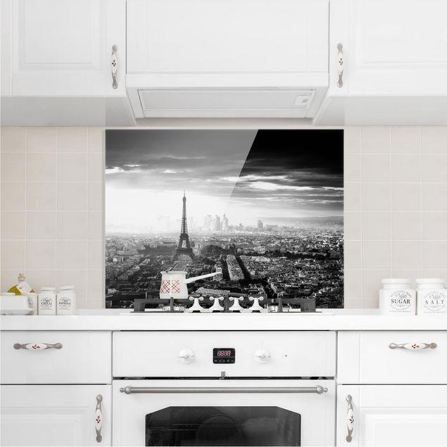 Glas Spritzschutz - Der Eiffelturm von Oben schwarz-weiß - Querformat - 4:3