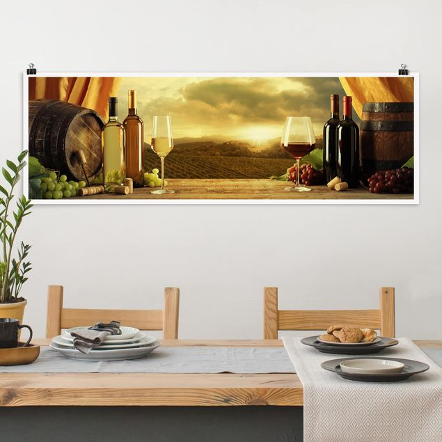 Poster - Wein mit Ausblick - Panorama Querformat