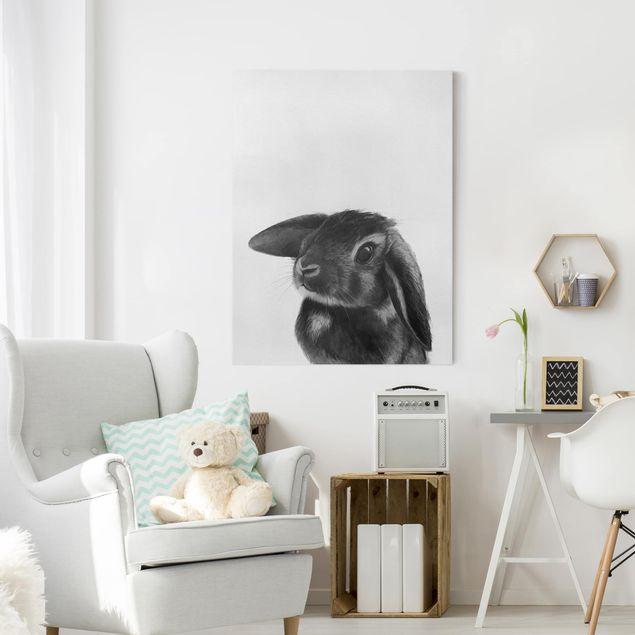 Leinwandbild - Illustration Hase Schwarz Weiß Zeichnung - Hochformat 4:3
