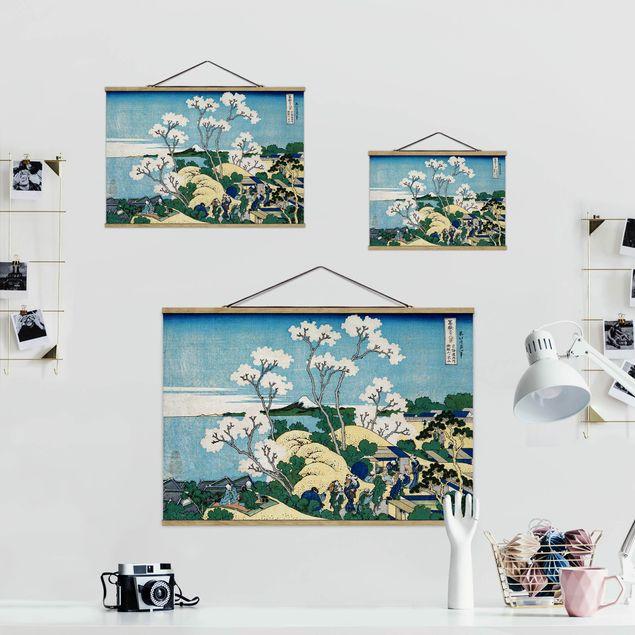 Stoffbild mit Posterleisten - Katsushika Hokusai - Der Fuji von Gotenyama - Querformat 3:2