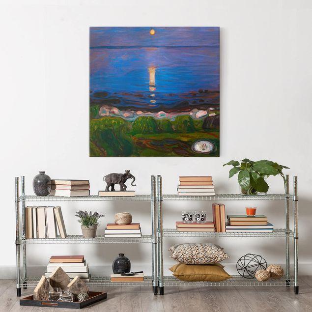Leinwandbild - Edvard Munch - Sommernacht am Meeresstrand - Quadrat 1:1