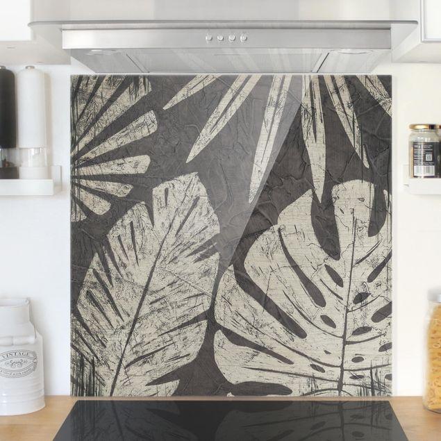 Glas Spritzschutz - Palmenblätter vor Dunkelgrau - Quadrat - 1:1