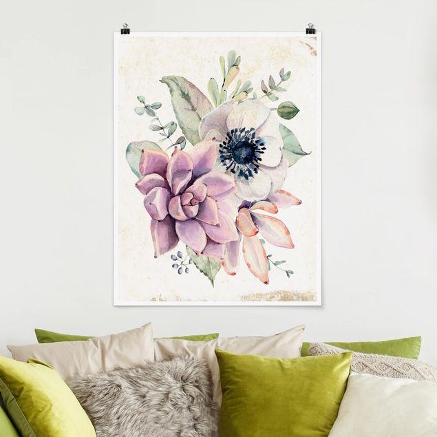 Poster - Aquarell Blumen Landhaus - Hochformat 3:4