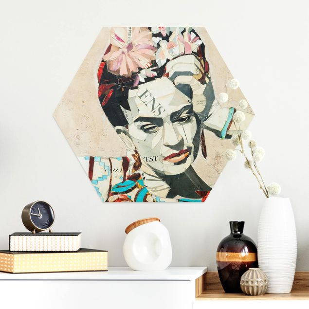 Hexagon Bild Alu-Dibond - Frida Kahlo - Collage No.1