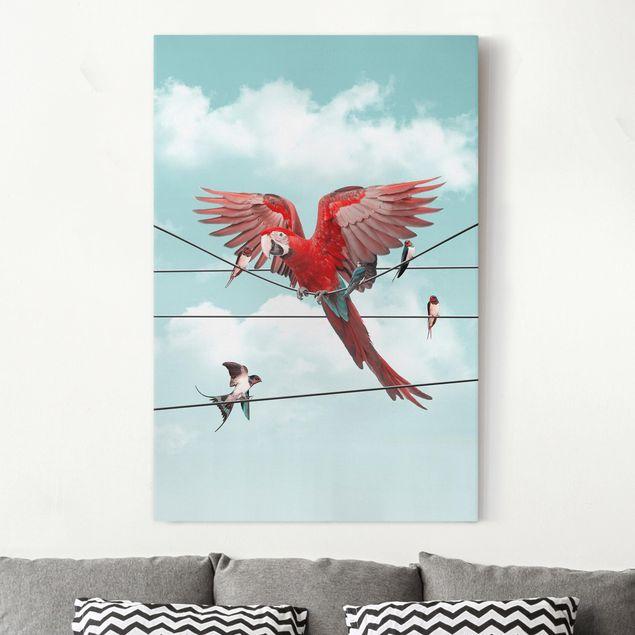 Leinwandbild - Jonas Loose - Himmel mit Vögeln - Hochformat 3:2
