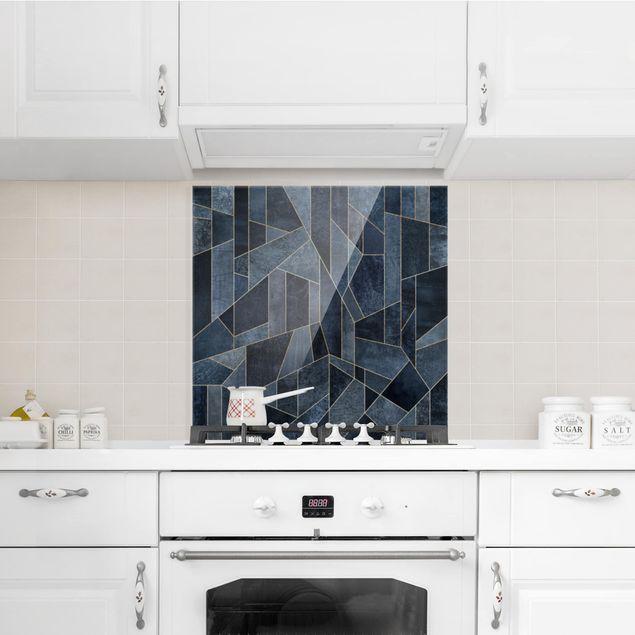 Glas Spritzschutz - Blaue Geometrie Aquarell - Quadrat - 1:1