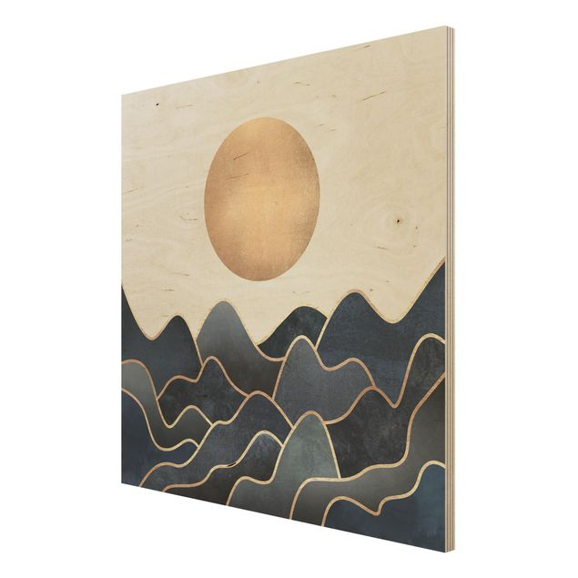 Holzbild - Goldene Sonne blaue Wellen - Quadrat 1:1