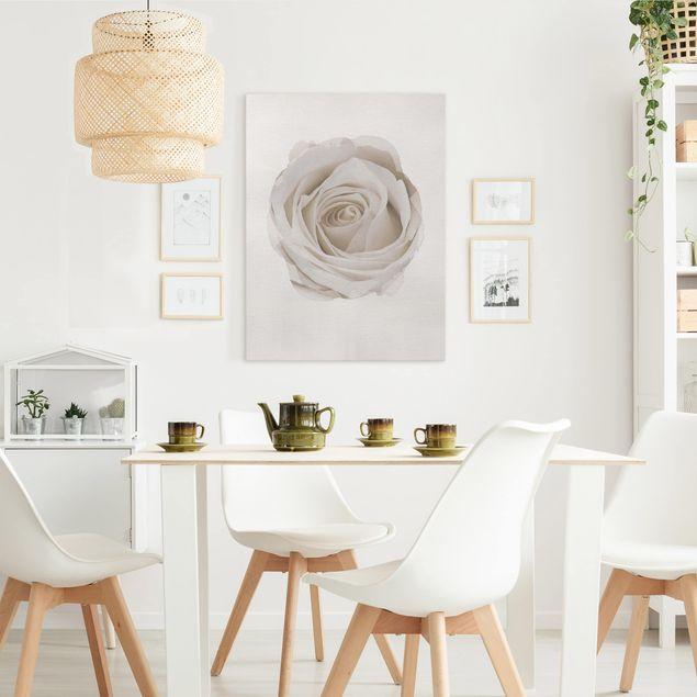 Leinwandbild - Wasserfarben - Pretty White Rose - Hochformat 4:3
