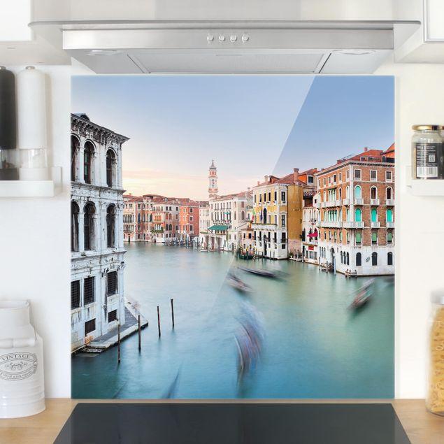 Glas Spritzschutz - Canale Grande Blick von der Rialtobrücke Venedig - Quadrat - 1:1