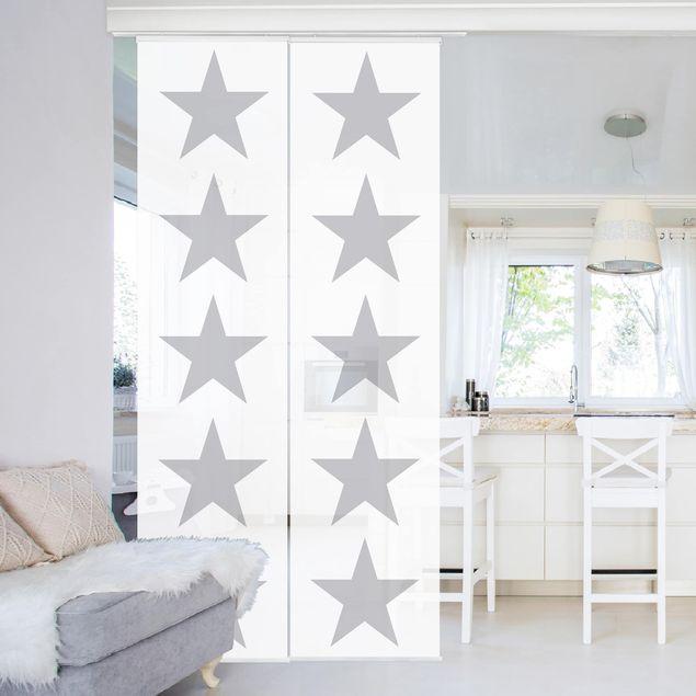 Schiebegardinen Set - Große Graue Sterne auf Weiß - Flächenvorhänge