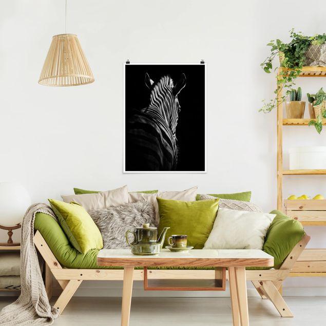 Poster - Dunkle Zebra Silhouette - Hochformat 3:4