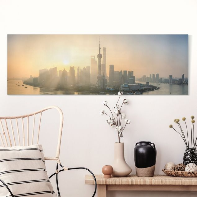 Leinwandbild - Pudong bei Sonnenaufgang - Panorama 3:1