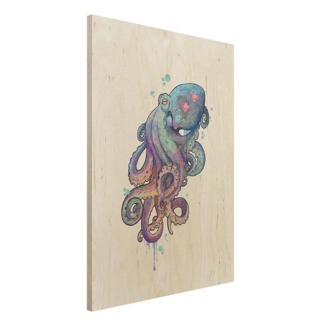 Holzbild - Illustration Oktopus Violett Türkis Malerei - Hochformat 4:3