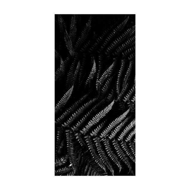 Vinyl-Teppich - Schwarz Weiß Botanik Farn - Hochformat 1:2