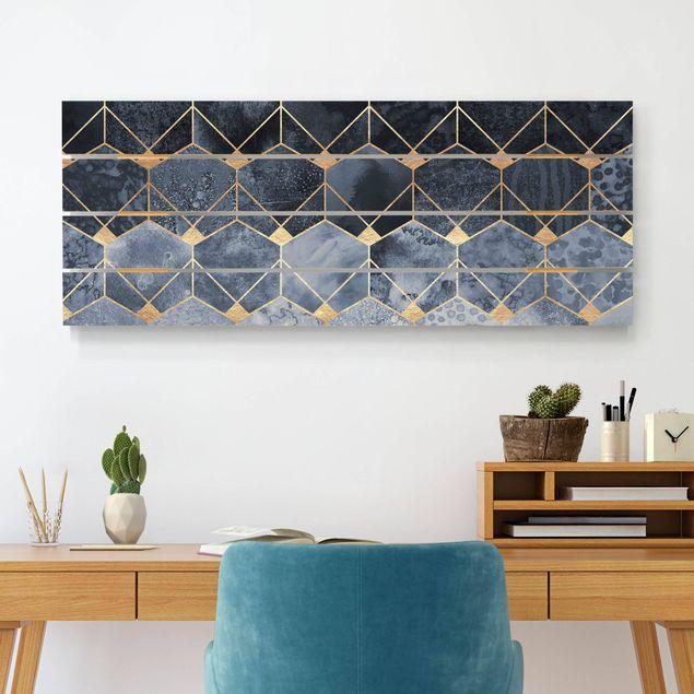 Holzbild - Elisabeth Fredriksson - Blaue Geometrie goldenes Art Deco - Querformat 2:5