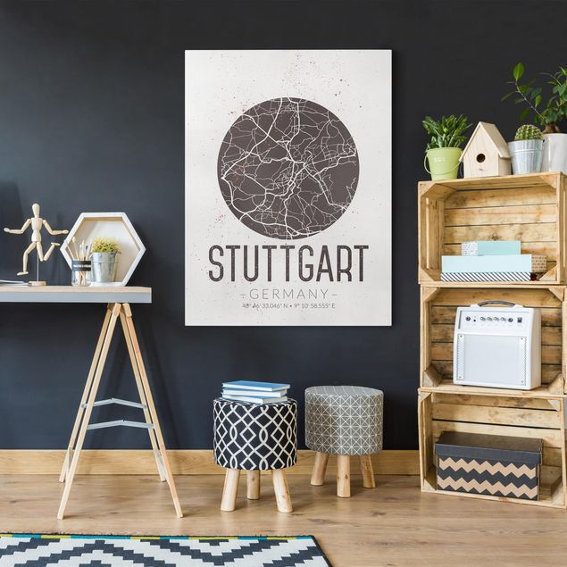 Leinwandbild - Stadtplan Stuttgart - Retro - Hochformat 4:3