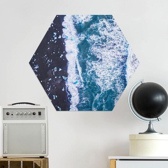 Hexagon Bild Alu-Dibond - Luftbild - Jökulsárlón in Island vertikal