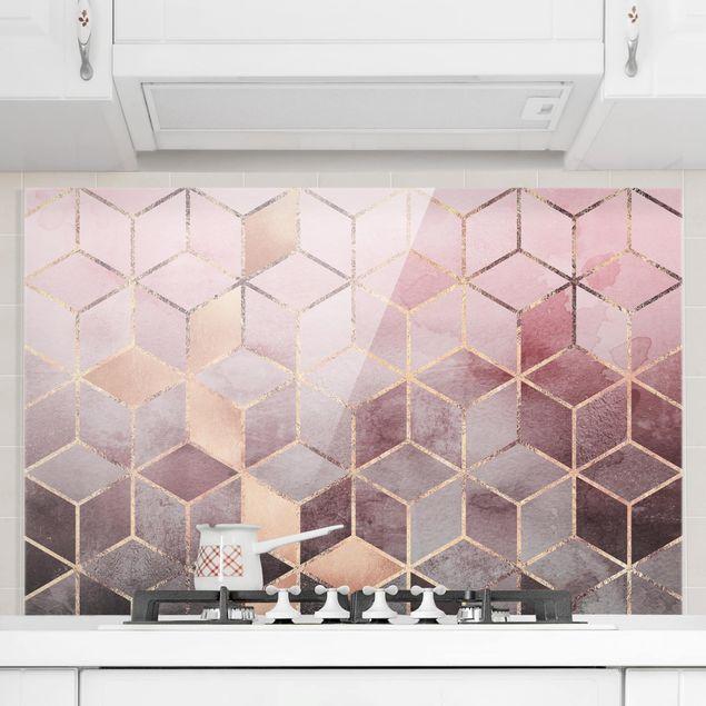 Spritzschutz Glas - Rosa Grau goldene Geometrie - Querformat 2:3