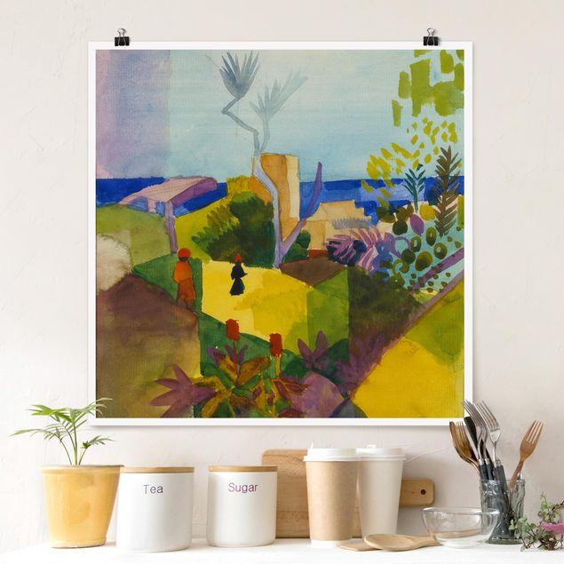 Poster - August Macke - Landschaft am Meer - Quadrat 1:1