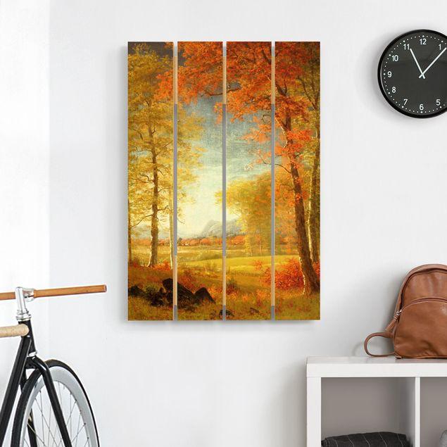 Holzbild - Albert Bierstadt - Herbst in Oneida County, New York - Hochformat 3:2