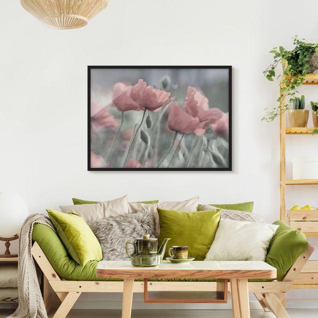Bild mit Rahmen - Malerische Mohnblumen - Querformat 3:4