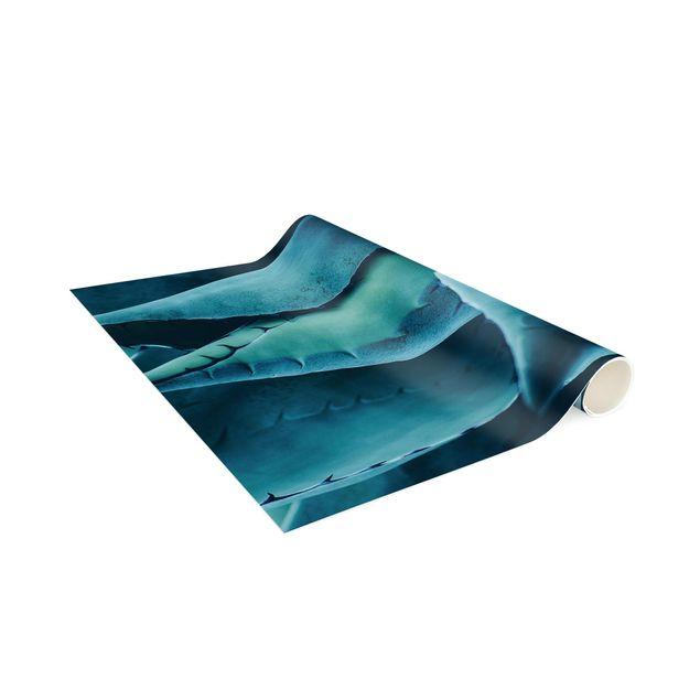 Vinyl-Teppich - Sukkulente Petrol I - Hochformat 1:2