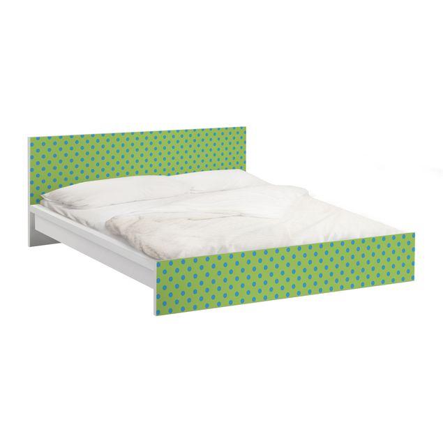 Möbelfolie für IKEA Malm Bett niedrig 180x200cm - Klebefolie No.DS92 Punktdesign Girly Grün