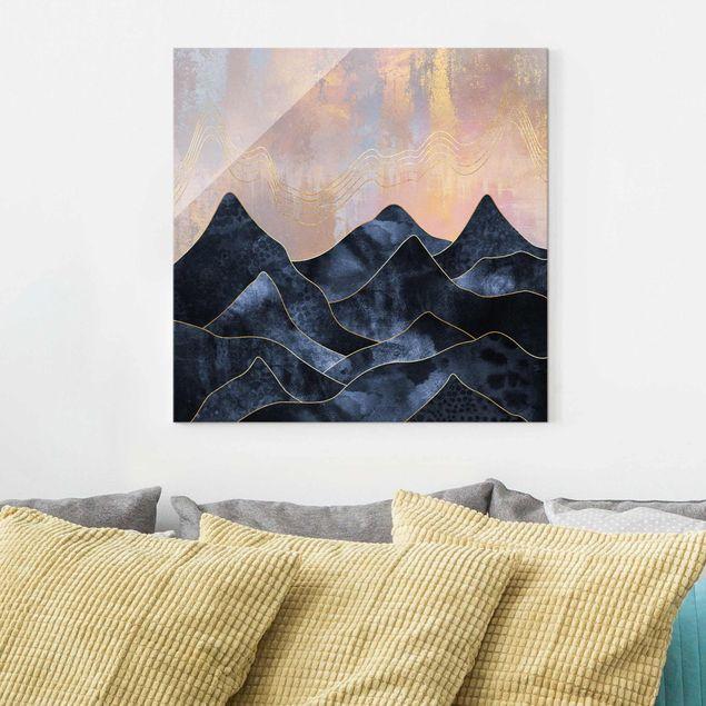 Glasbild - Goldene Dämmerung über Gebirge - Quadrat 1:1