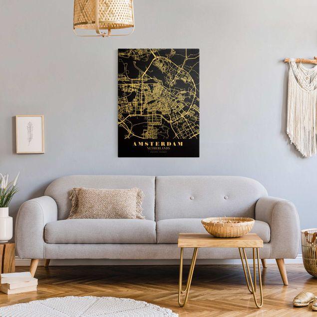 Leinwandbild Gold - Stadtplan Amsterdam - Klassik Schwarz - Hochformat 3:4