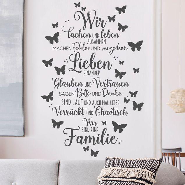 Wandtattoo - Wir sind eine Familie Schmetterlinge