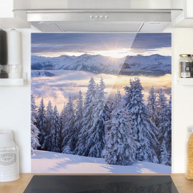 Glas Spritzschutz - Blick in die Hohen Tauern vom Kreuzkogel Österreich - Quadrat - 1:1