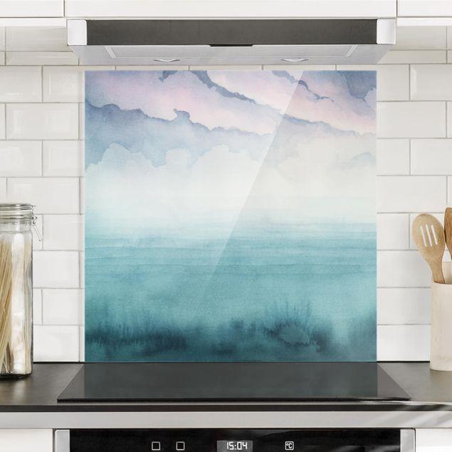 Glas Spritzschutz - Dämmerung auf der Bucht I - Quadrat - 1:1