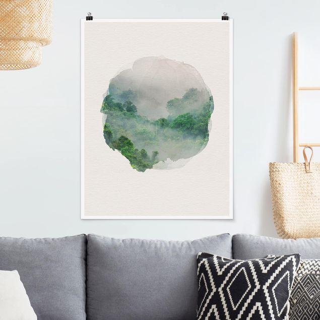 Poster - Wasserfarben - Dschungel im Nebel - Hochformat 4:3