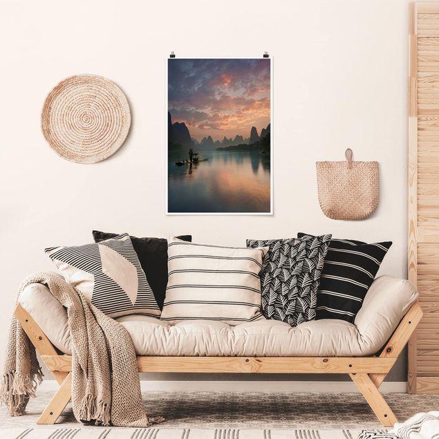 Poster - Sonnenaufgang über chinesischem Fluss - Hochformat 3:2