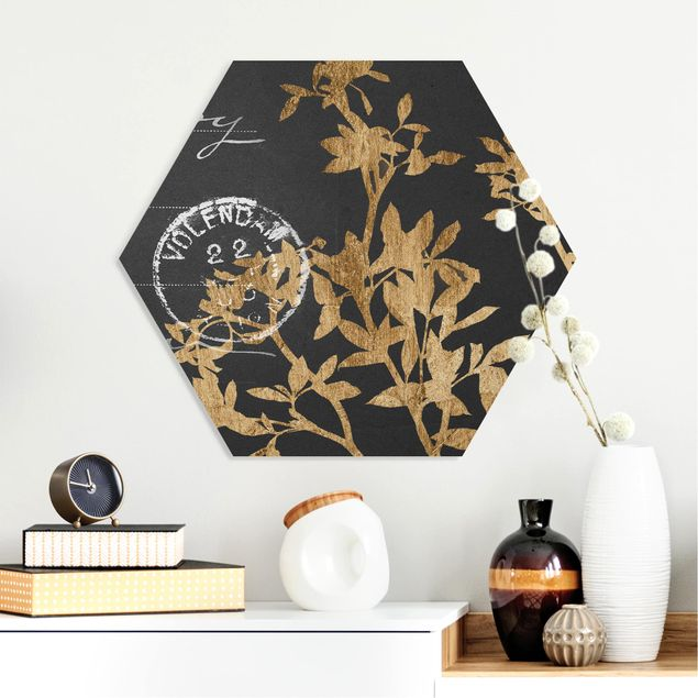 Hexagon Bild Forex - Goldene Blätter auf Mokka II