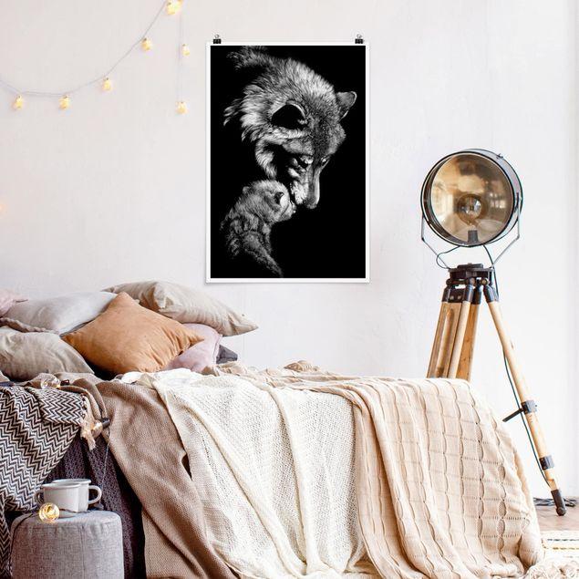 Poster - Wolf vor Schwarz - Hochformat 3:2