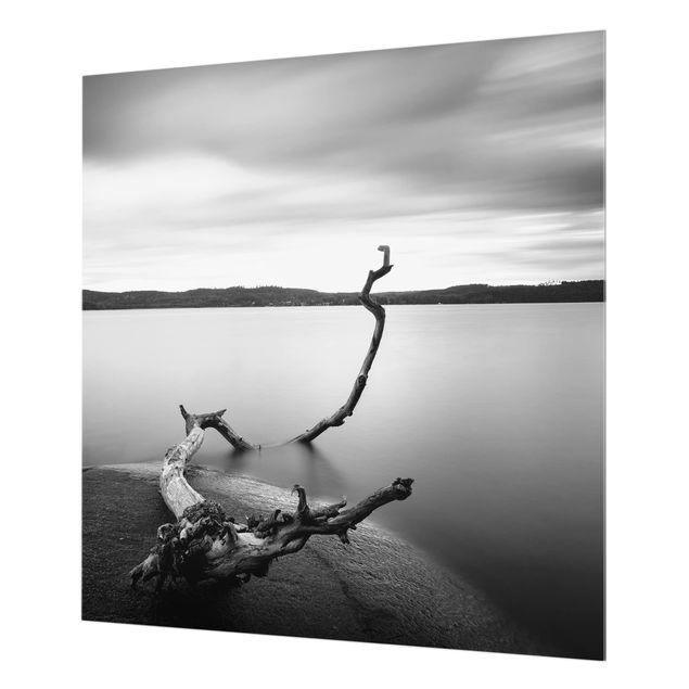 Glas Spritzschutz - Sonnenuntergang am See schwarz-weiß - Quadrat - 1:1