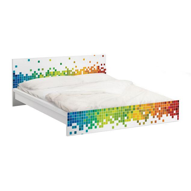 Möbelfolie für IKEA Malm Bett niedrig 180x200cm - Klebefolie Pixel-Regenbogen