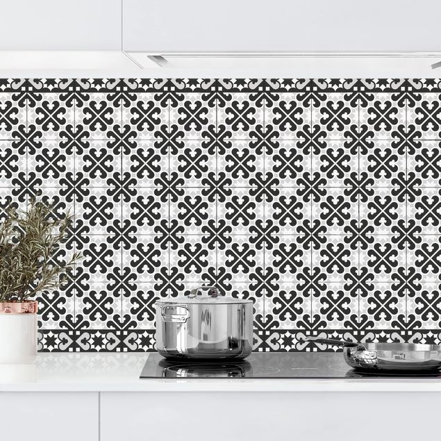 Küchenrückwand - Geometrischer Fliesenmix Herzen Schwarz