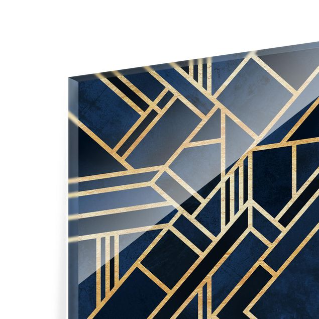 Glas Spritzschutz - Art Deco Gold - Quadrat - 1:1