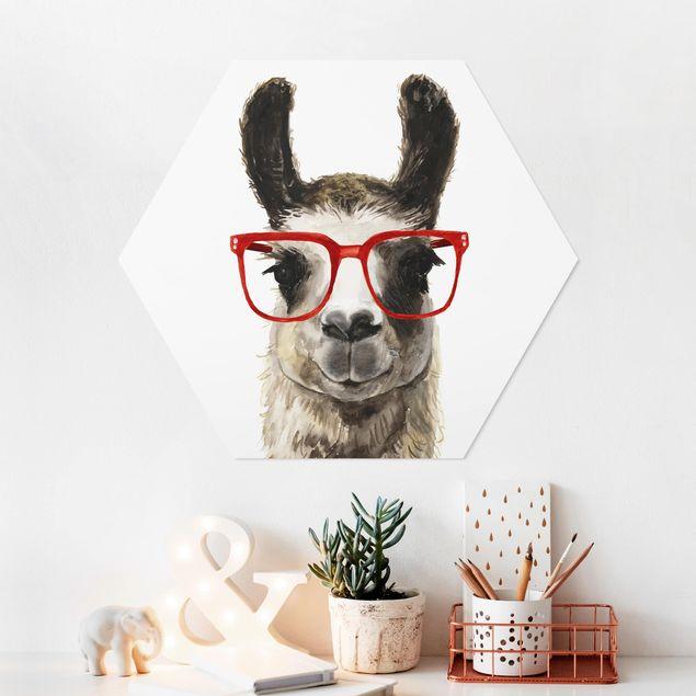 Hexagon Bild Forex - Hippes Lama mit Brille II