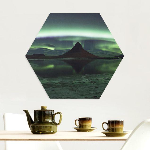 Hexagon Bild Alu-Dibond - Polarlicht in Island