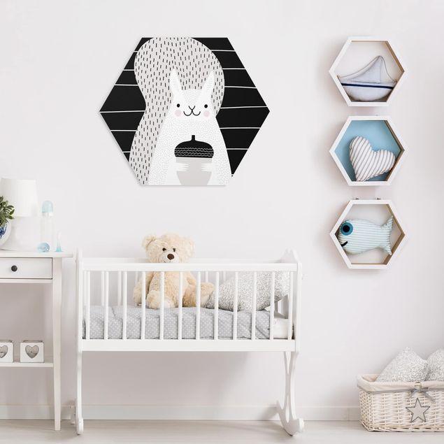 Hexagon Bild Forex - Tierpark mit Mustern - Eichhörnchen