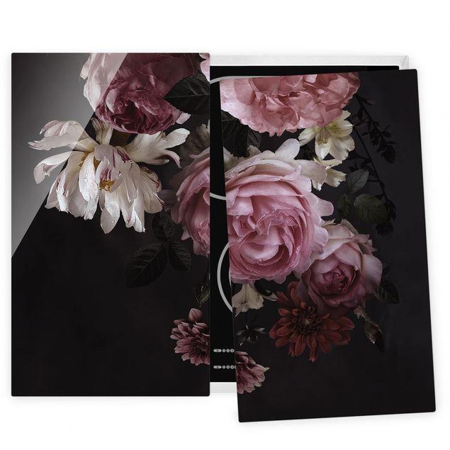 Herdabdeckplatte Glas - Rosa Blumen auf Schwarz - 52x60cm