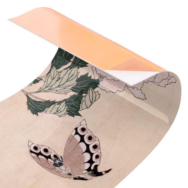 Küchenrückwand - Katsushika Hokusai - Rosa Pfingstrosen mit Schmetterling